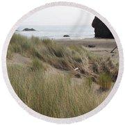 Gold Beach Oregon Beach Grass 24 Round Beach Towel