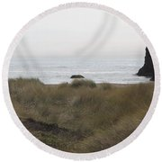 Gold Beach Oregon Beach Grass 4 Round Beach Towel