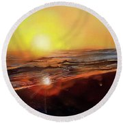 Gold Beach Oregon Sunset Round Beach Towel