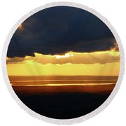 Gold Behind The Clouds Round Beach Towel
