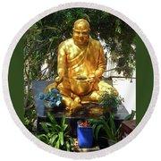 Gold Buddha 4 Round Beach Towel