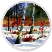 Gold Bushes Watercolor Round Beach Towel