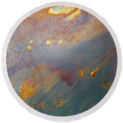 Gold Dust Abstract Painting Round Beach Towel