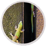 Gold Dusted Day Gecko Round Beach Towel