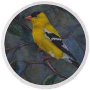 Gold Finch Round Beach Towel