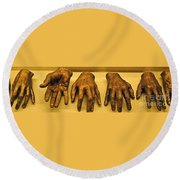 Gold Fingers Round Beach Towel