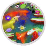 Gold Fish And Water Lily Pads Round Beach Towel