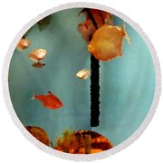 Gold Fish Life Round Beach Towel