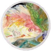Gold Fish With Purple Round Beach Towel