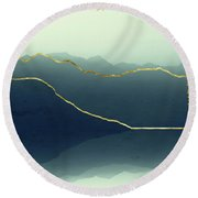 Gold Framed Alps Round Beach Towel