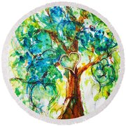 Gold Heart Valentine Tree Watercolor N Ink Round Beach Towel