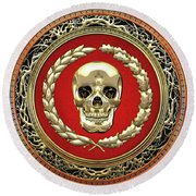 Gold Human Skull Over White Leather  Round Beach Towel
