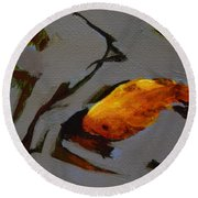 Gold In The Pond Round Beach Towel