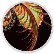 Gold Leaf Abstract Round Beach Towel