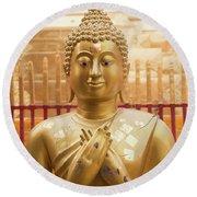 Gold Leaf Buddha Round Beach Towel