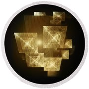 Gold Light And Panels Round Beach Towel