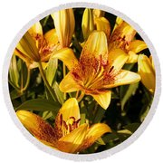 Gold Lilly Round Beach Towel