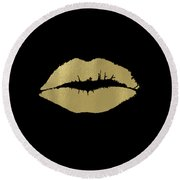 Gold Lips Kiss Round Beach Towel