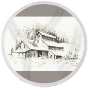 Gold Mine Cable Ghost Town Montana Round Beach Towel