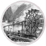 Gold Mining, 1860 Round Beach Towel