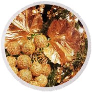 Gold Ornaments Holiday Card Round Beach Towel