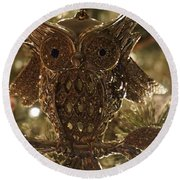 Gold Owl Round Beach Towel