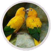 Gold Parakeets Round Beach Towel