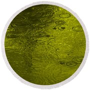 Gold Rain Droplets Round Beach Towel