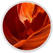 Gold Red And Orange Abstract Round Beach Towel
