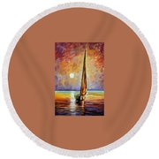 Gold Sail Round Beach Towel