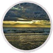 Gold Skies Round Beach Towel