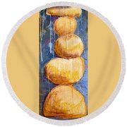 Gold Stones Round Beach Towel