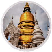 Gold Stupa Round Beach Towel