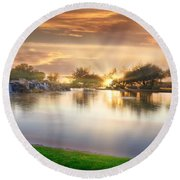 Gold Sunset At The Lake Round Beach Towel