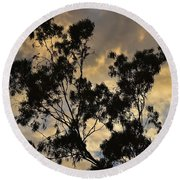 Gold Sunset Tree Silhouette I Round Beach Towel