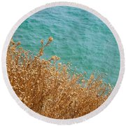 Gold Thistles And The Aegean Sea Round Beach Towel