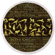 Gold Yoga Asanas / Poses Sanskrit Word Art  Round Beach Towel