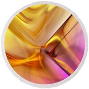 Golden Abstract 042711 Round Beach Towel