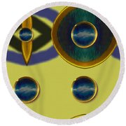 Golden Abstracte Round Beach Towel