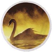 Golden African Swan Round Beach Towel