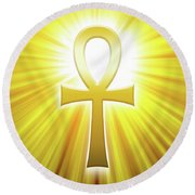 Golden Ankh With Sunbeams Round Beach Towel