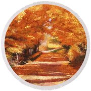 Golden Autumn Round Beach Towel