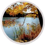 Golden Autumn Lake Round Beach Towel