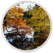 Golden Autumn Trees Round Beach Towel
