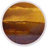 Golden Backlit Wave Round Beach Towel