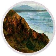 Golden Beach Cliff Side  Painterly Round Beach Towel