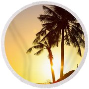 Golden Beach Tropics Round Beach Towel