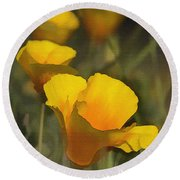 Golden Beauties Round Beach Towel