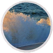 Golden Blue Splash Round Beach Towel