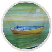 Golden Boat In The Green Lagoon Round Beach Towel